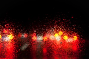 blurred car lights in the rain